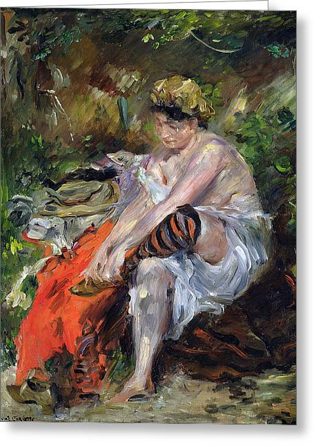 Bloomers Greeting Cards - After The Swim Greeting Card by Lovis Corinth