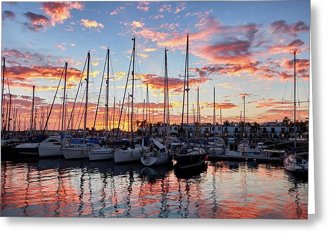 Greeting Card featuring the photograph Afterglow In Puerto De Mogan by Marc Huebner