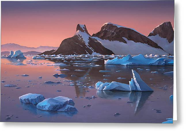 Afterglow Lemarie Channel Antarctica Greeting Card by Cliff Wassmann