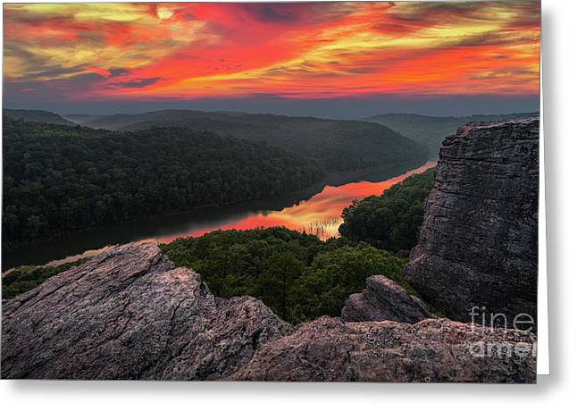 Afterglow Reflections Greeting Card by Anthony Heflin