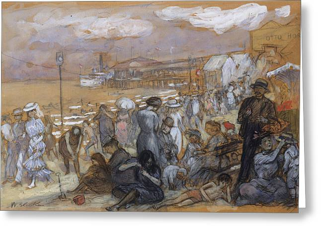 Afternoon At Coney Island Greeting Card by William Glackens