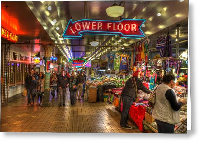 Afternoon At The Pike Street Market Seattle Washington Greeting Card