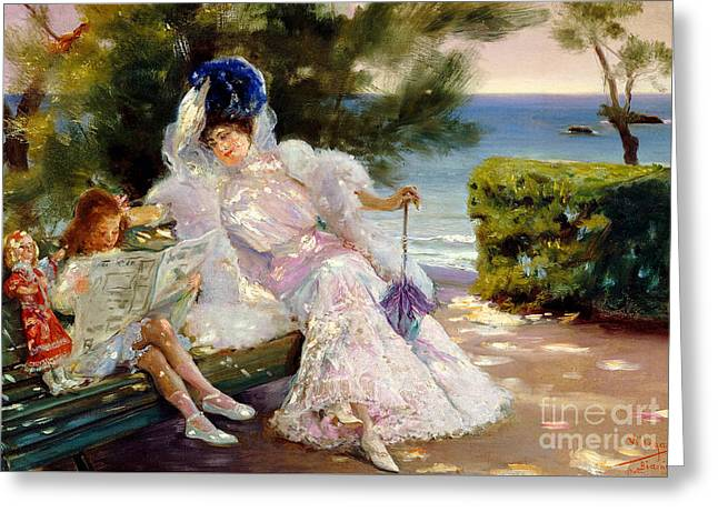 Afternoon By The Sea, Biarritz, 1906 Greeting Card by Jose Villegas Cordero