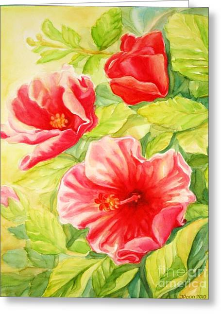 Greeting Card featuring the painting Afternoon Hibiscus by Inese Poga