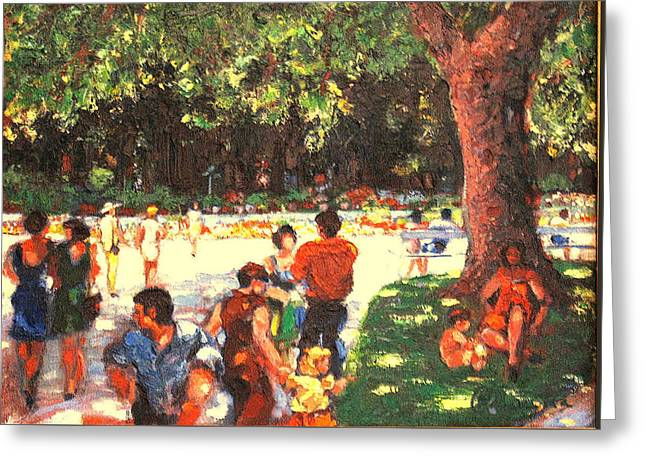 Greeting Card featuring the painting Afternoon In The Park by Walter Casaravilla