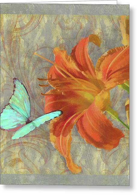 Afternoon In Tuscany II Orange Day Lily Aqua Butterfly Greeting Card