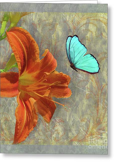 Afternoon In Tuscany, Orange Day Lily Floral Art Greeting Card