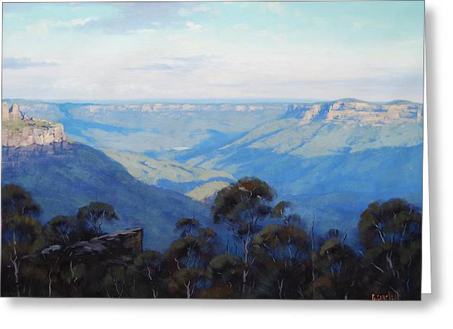 Afternoon Light Jamison Valley Greeting Card by Graham Gercken