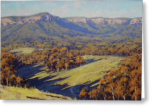 Afternoon Light Megalong Valley Greeting Card by Graham Gercken