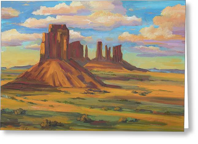 Greeting Card featuring the painting Afternoon Light Monument Valley by Diane McClary