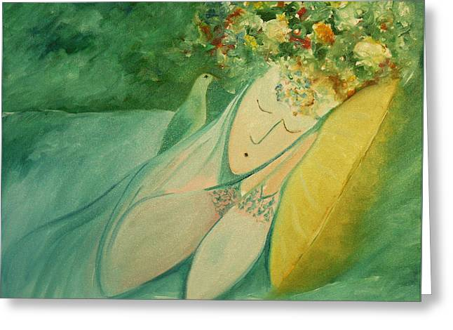 Afternoon Nap In The Garden Greeting Card by Tone Aanderaa