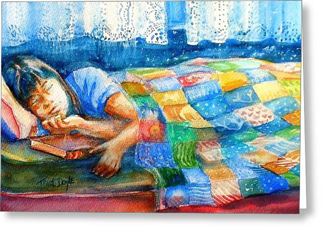 Afternoon Nap Greeting Card by Trudi Doyle