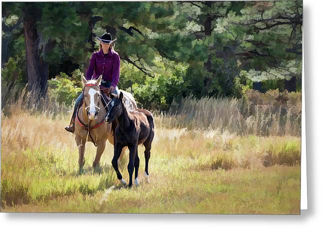 Afternoon Ride In The Sun - Cowgirl Riding Palomino Horse With Foal Greeting Card