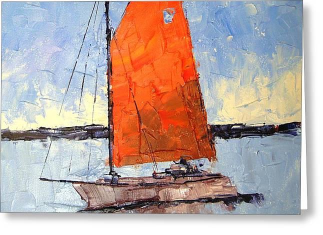 Afternoon Sail Greeting Card by Leslie Saeta