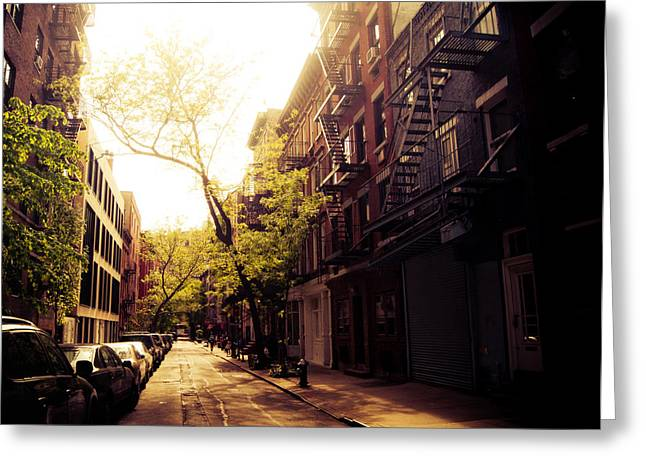 New York City Fire Escapes Greeting Cards - Afternoon Sunlight on a New York City Street Greeting Card by Vivienne Gucwa