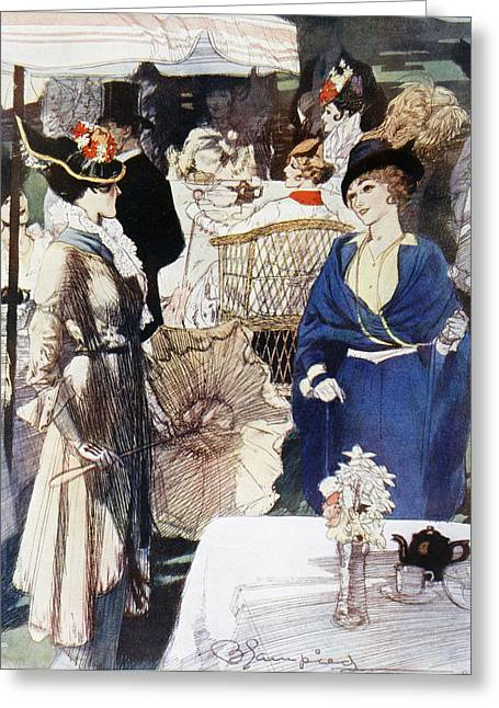 Afternoon Tea In Kensington Gardens Greeting Card by Vintage Design Pics