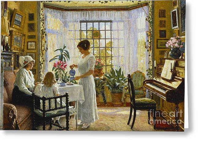 Afternoon Tea Greeting Card by Paul Fischer