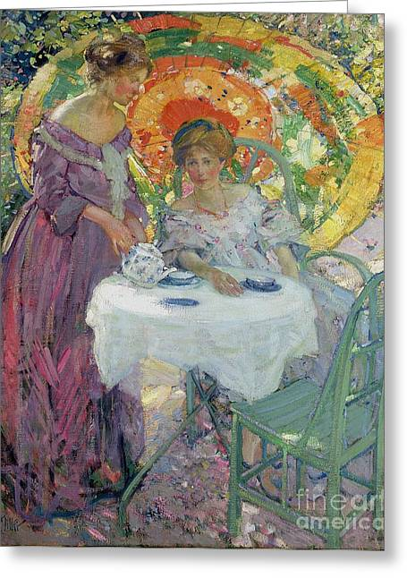 Afternoon Tea Greeting Card by Richard Edward Miller