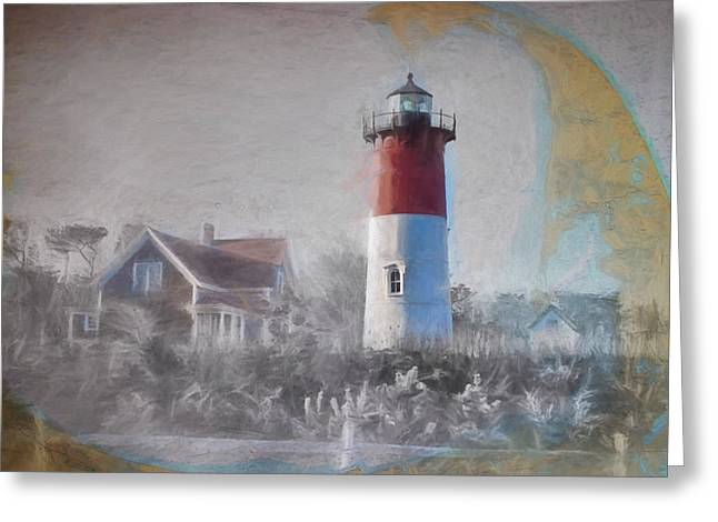 Afternoon View Of Nauset Lighthouse Greeting Card by Jeff Folger