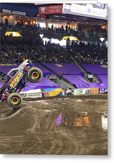 Aftershock Monster Truck Greeting Card by Tammy Rekito
