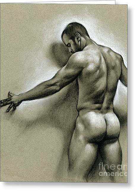 Nude Drawings Greeting Cards - Against the wall Greeting Card by Chris  Lopez
