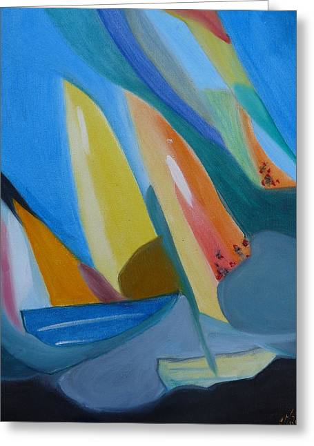 Against The Wind Greeting Card by Elizabeth Ribet
