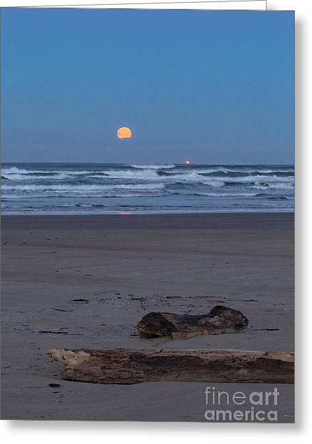 Agate Beach Moonset Greeting Card by Richard Sandford