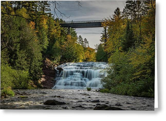 Agate Falls With Railroad Bridge Greeting Card