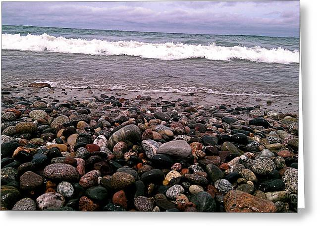 Agates Beach Version2 Greeting Card by Debbie Crandall