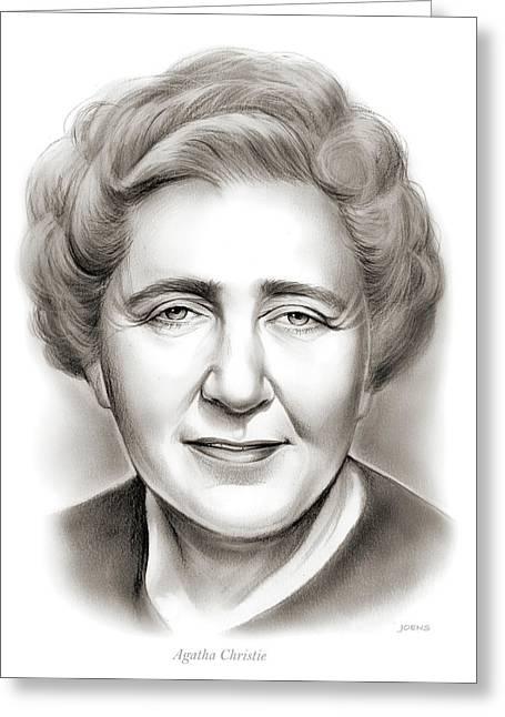 Agatha Christie Greeting Card by Greg Joens