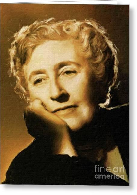 Agatha Christie, Literary Legend By Mary Bassett Greeting Card by Mary Bassett