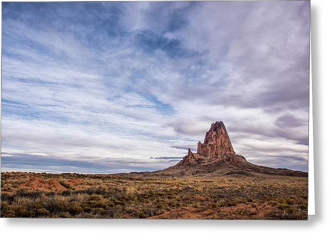 Greeting Card featuring the photograph Agathla Wakes Up by Jon Glaser