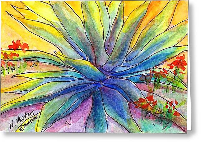 Agave Greeting Card by Nancy Matus