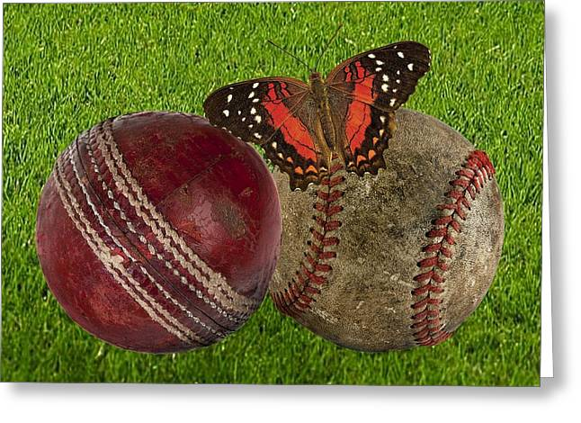 Age Basketball And Cricket Ball Greeting Card