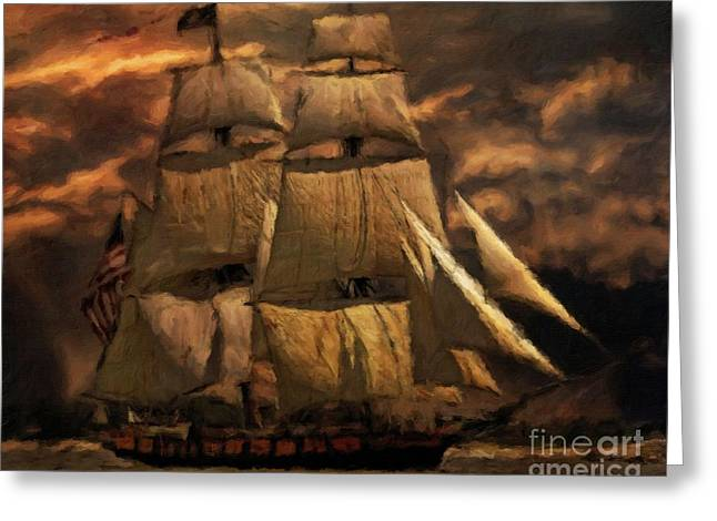 Age Of The Tall Ship By Sarah Kirk Greeting Card by Sarah Kirk
