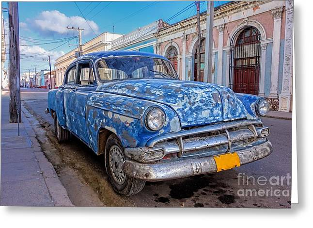Aged And Run-down Cuban Auto In The Street Of Cienfuegos, Cuba  Greeting Card