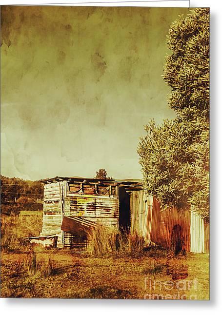 Aged Australia Countryside Scene Greeting Card