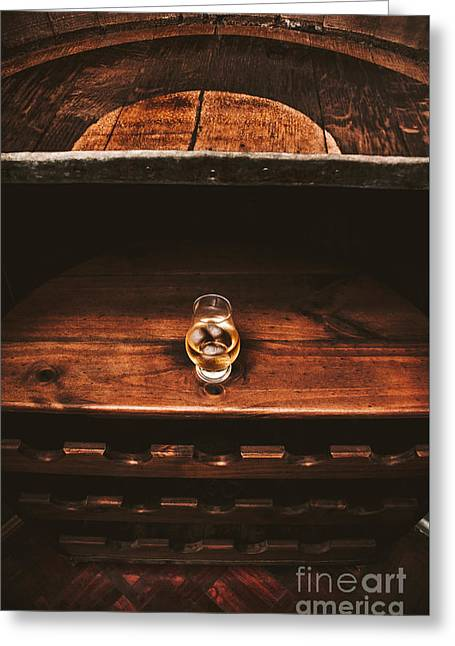 Aged Glass Of Rum On Cellar Barrel Greeting Card