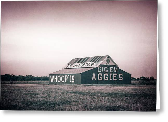 Aggie Barn Sunrise 2015 Platinum Textured Greeting Card