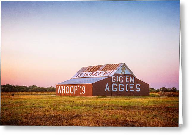 Aggie Barn Sunrise 2015 Textured Greeting Card