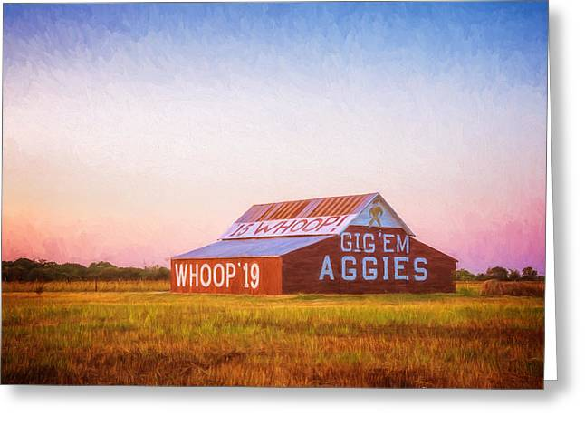 Aggie Barn Sunrise Painterly Greeting Card