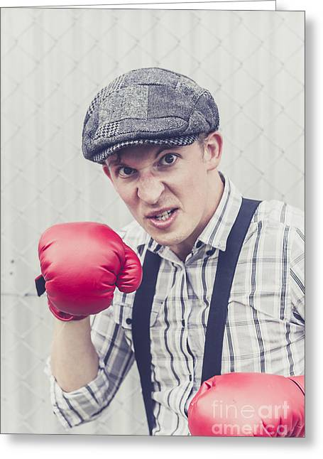 Aggressive Boxer Wearing 1920s Flat Cap Greeting Card