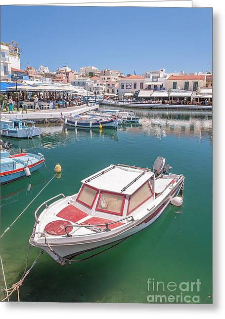 Agios Nikolaos Boat In Lagoon Greeting Card by Antony McAulay