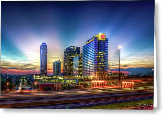 Greeting Card featuring the photograph Aglow Atlanta Midtown Atlantic Station Sunset Art by Reid Callaway