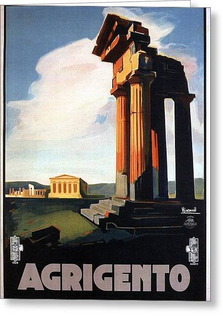 Agrigento, Sicily, Italy - Retro Travel Poster - Vintage Poster Greeting Card