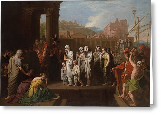 Agrippina Landing At Brundisium With The Ashes Of Germanicus Greeting Card by Mountain Dreams