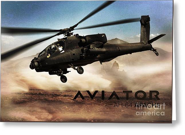 Ah-64 Apache Helicopter Greeting Card