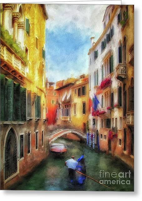 Greeting Card featuring the digital art Ahh Venezia Painterly by Lois Bryan