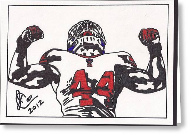 Greeting Card featuring the drawing Ahmad Bradshaw by Jeremiah Colley