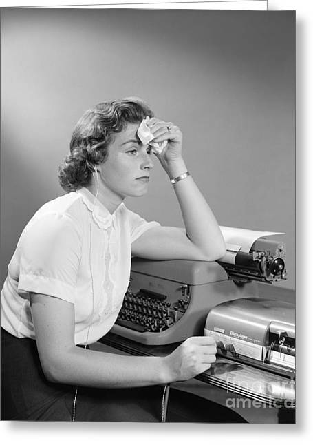 Ailing Secretary At Desk Greeting Card by H. Armstrong Roberts/ClassicStock